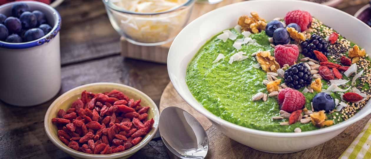 Goji berries in a green smoothie bowl | Blackmores