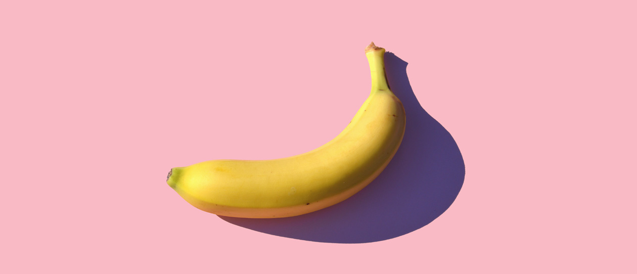 Banana on a pink background