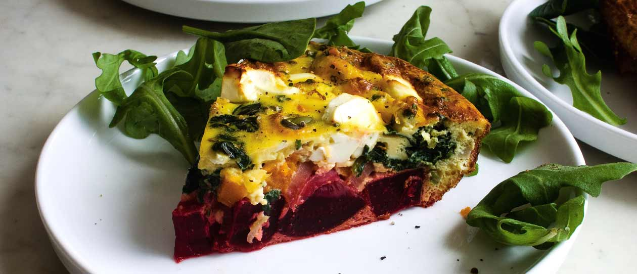 Sweet potato beetroot and goats cheese frittata | Blackmores
