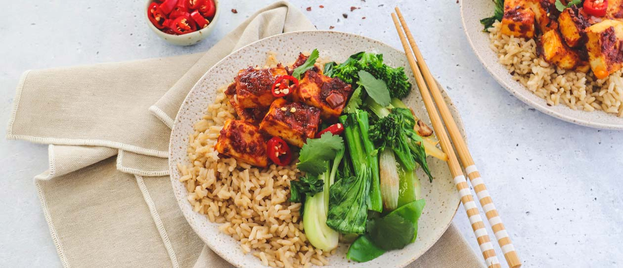 Ginger, greens & chilli baked tofu
